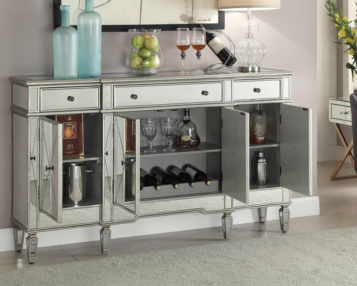 Coaster 102595 Wine Cabinet - Clear Mirror