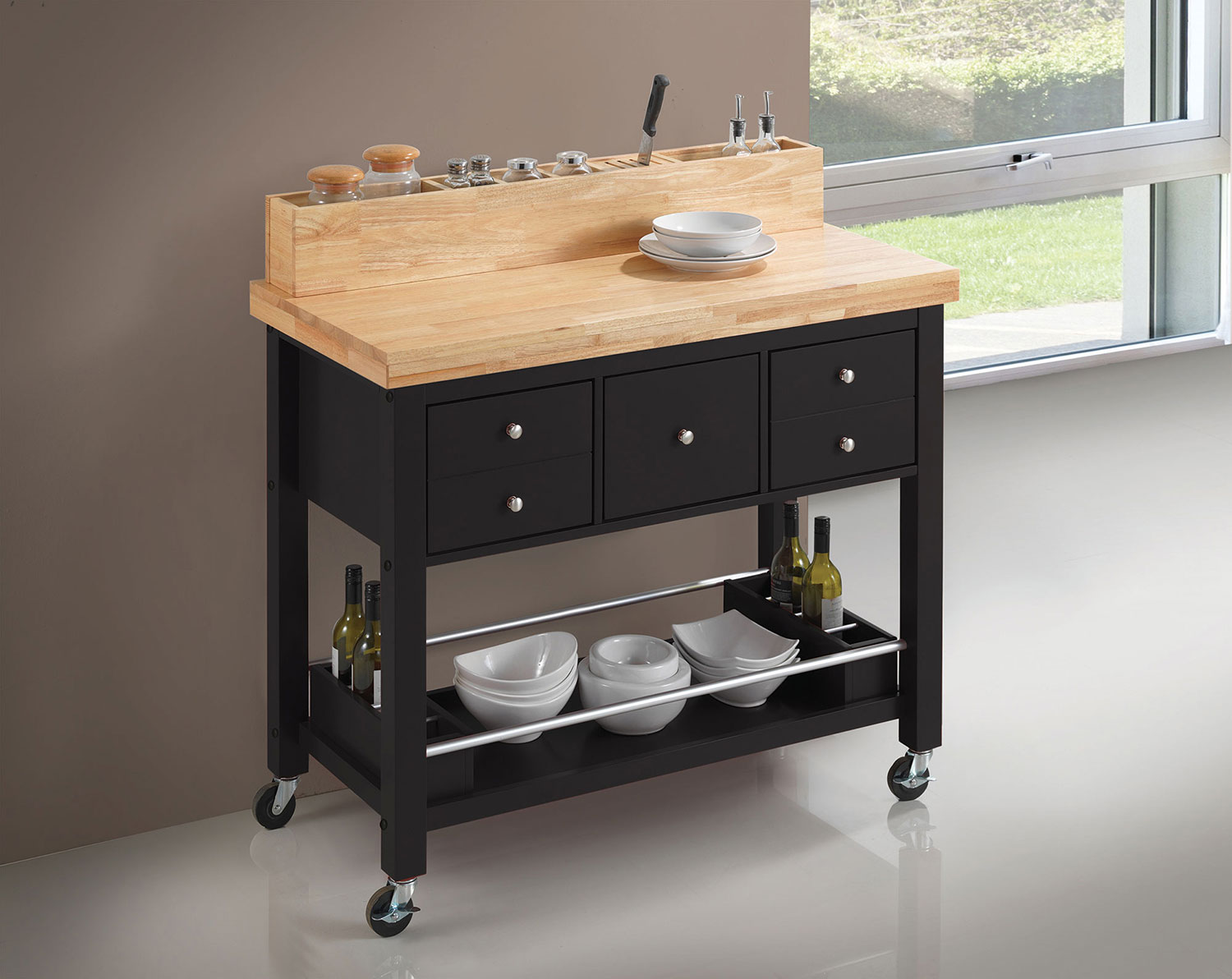 Coaster 102668 Kitchen Cart - Natural and Black