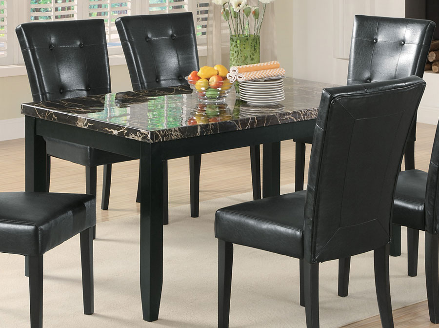 Furniture dining room furniture table black marble Black marble dining table set