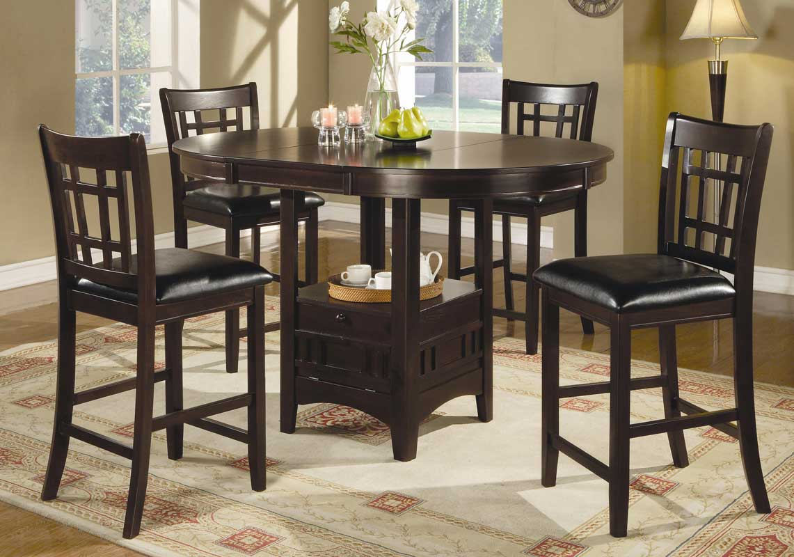 Counter Height Round Dining Set : Coaster Lavon Round Counter Height Dining Set - Cappucino ...