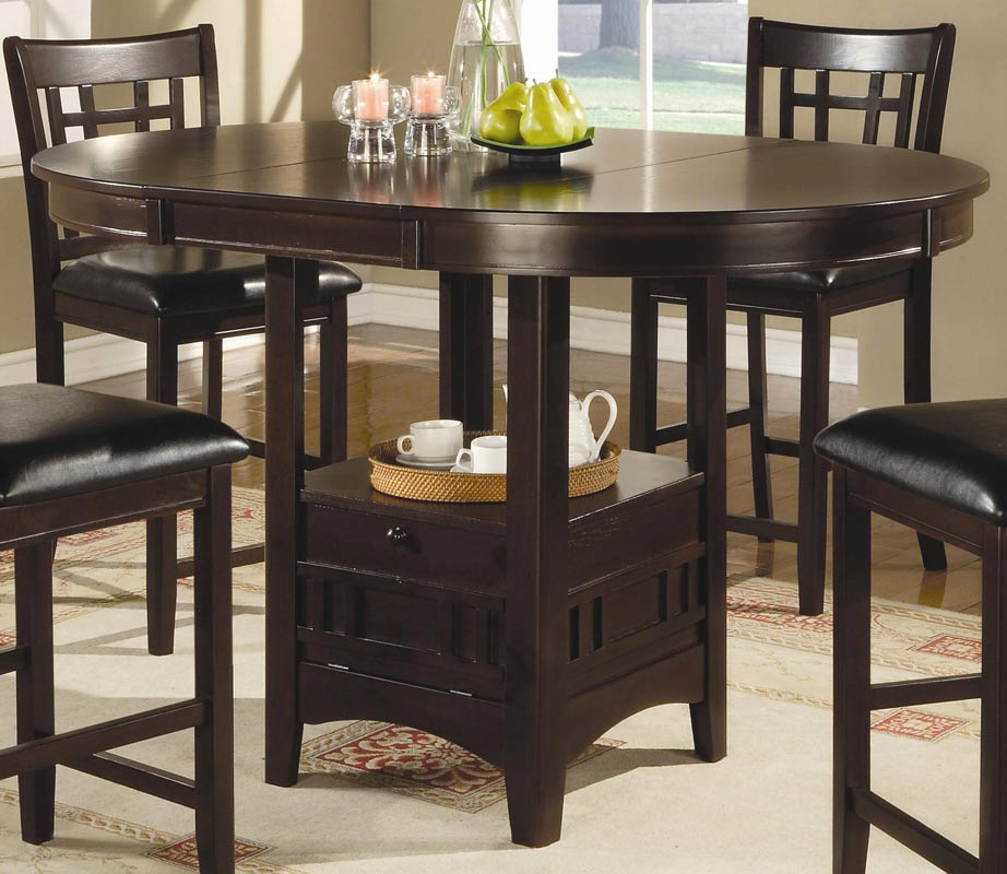 Coaster lavon round counter height dining set cappucino for Tall dinner table set