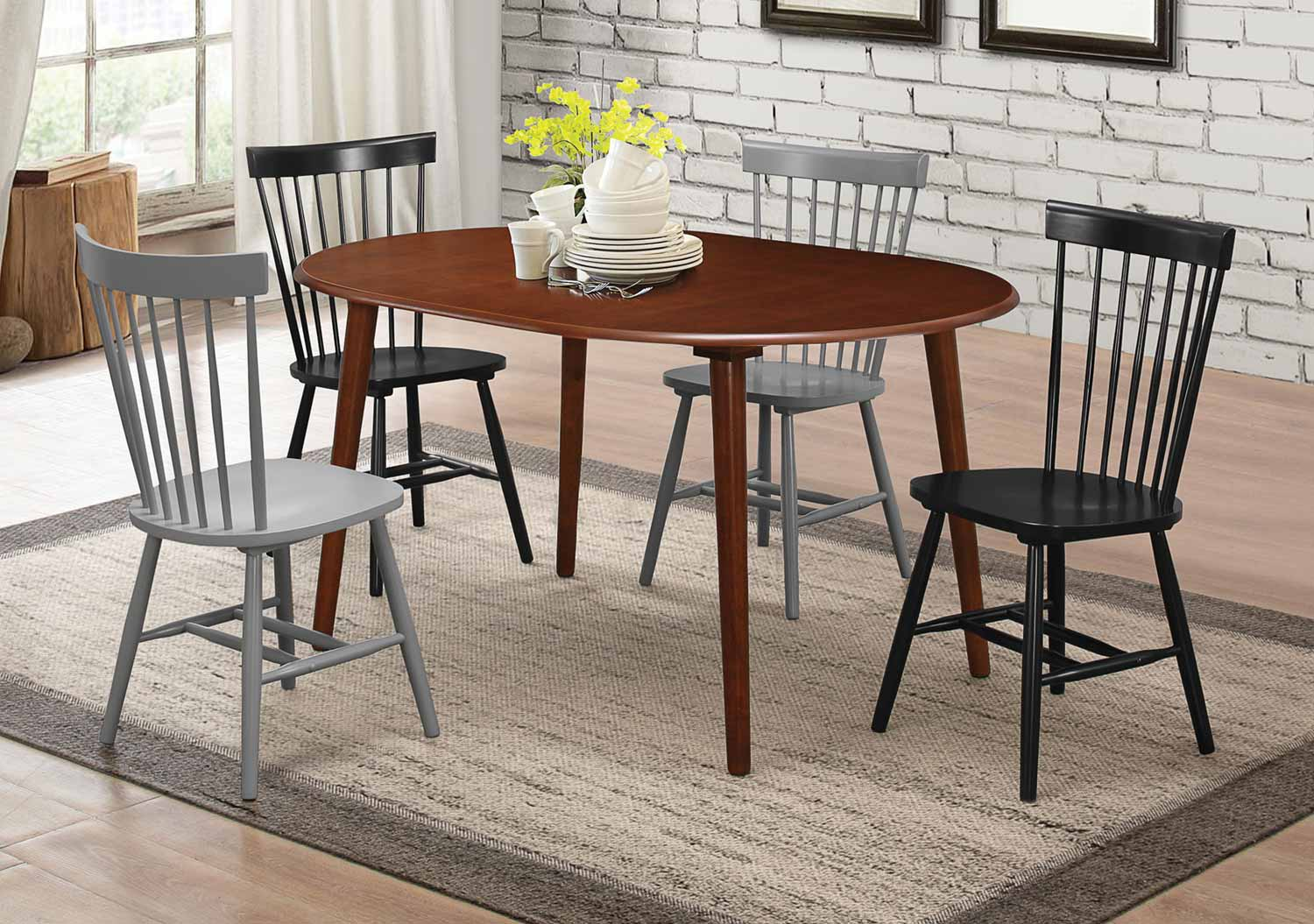 Coaster Emmett Dining Set - Light Walnut