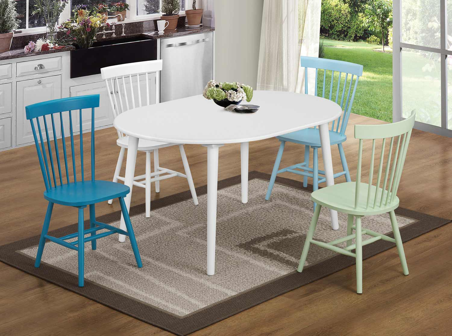 Coaster Emmett Dining Set with Oval Table- White