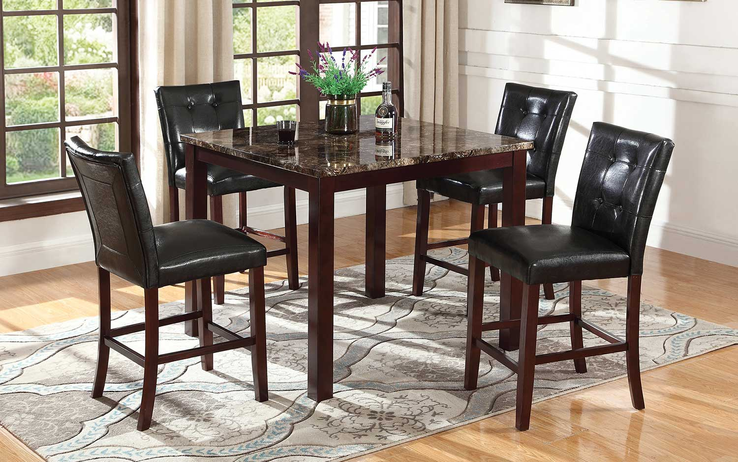Coaster Ducey Counter Dining Set - Dark Brown