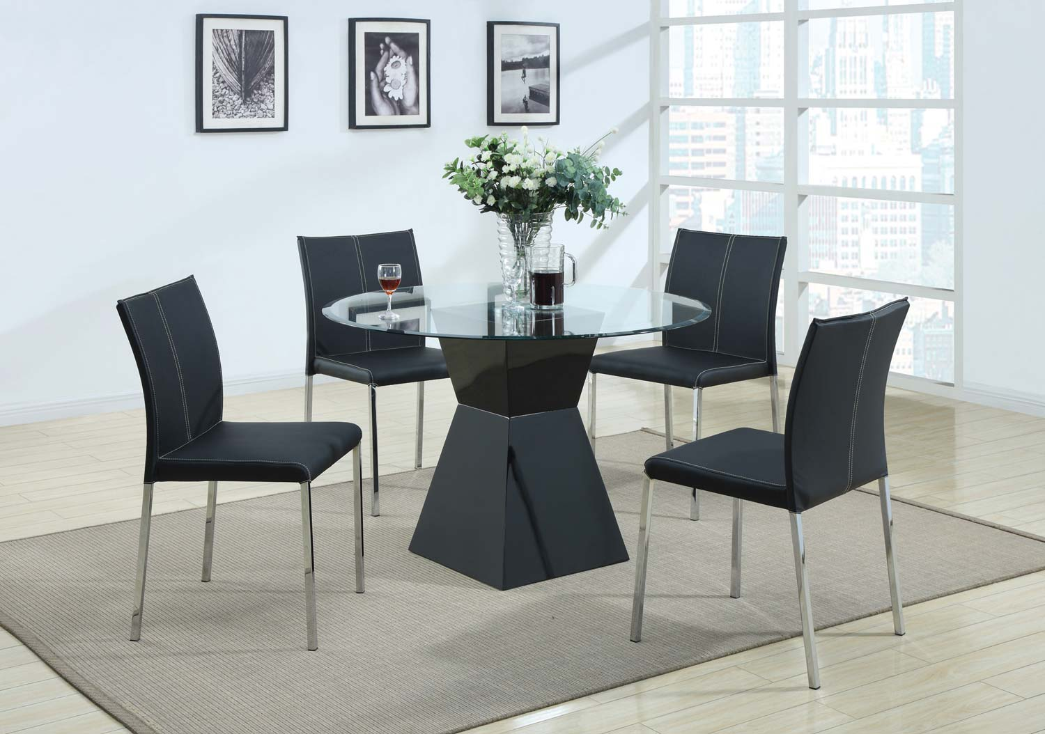 Coaster 103731 Round Glass Dining Set - Black Chair