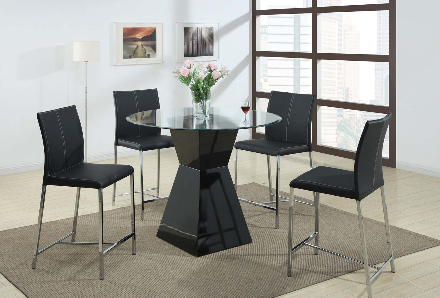 Coaster 103736 Round Glass Counter Height Dining Set - Black Chair