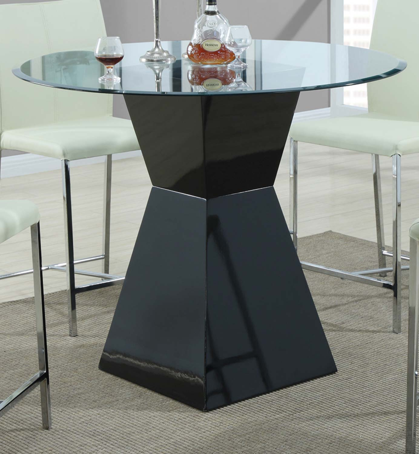 Coaster 103736 Round Glass Counter Height Dining Set