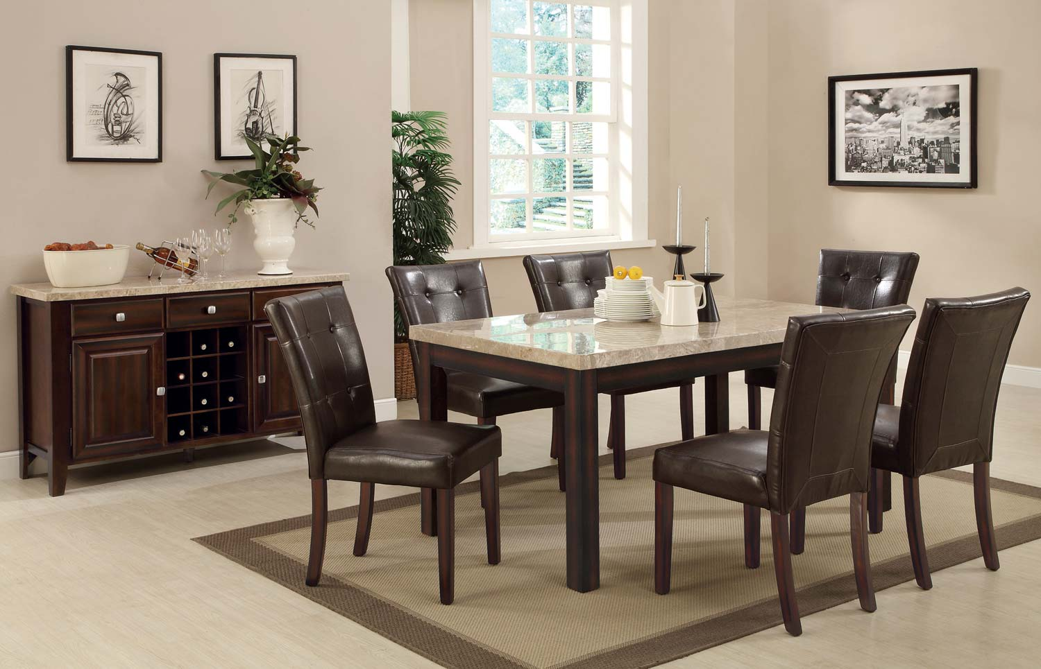Coaster Milton Rectangular Dining Set - Light Top - Cappuccino