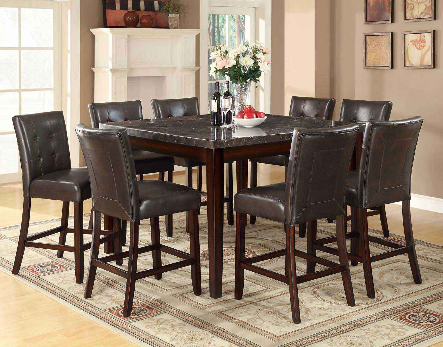 Coaster Milton Square Counter Height Dining Set - Dark Top - Cappuccino