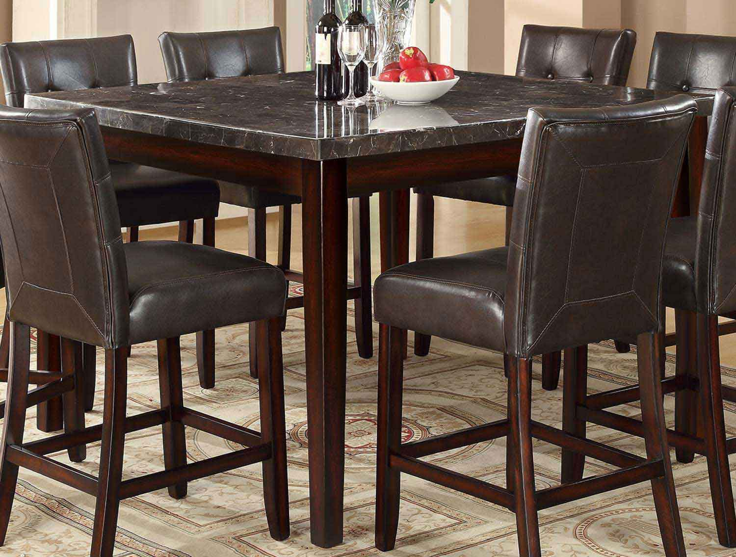 Coaster Milton Square Counter Height Table - Dark Top - Cappuccino