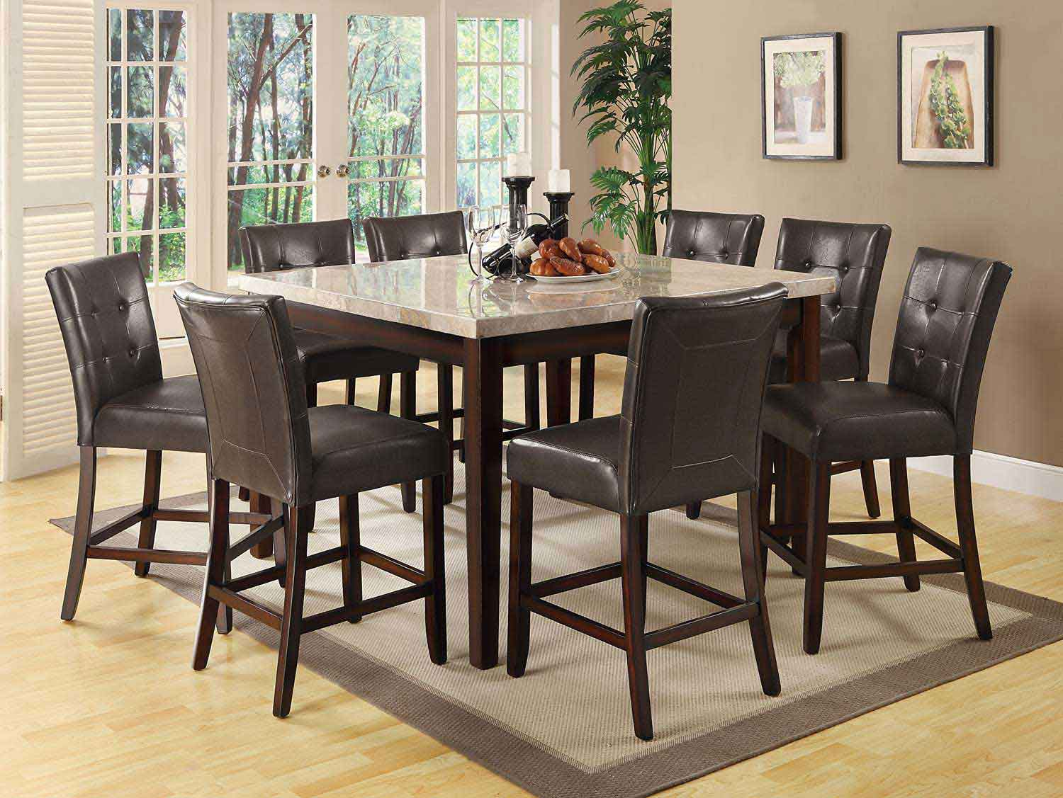 Coaster Milton Square Counter Height Dining Set - Light Top - Cappuccino