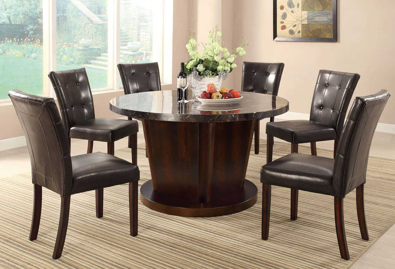 Coaster Milton Round Dining Set - Dark Top - Cappuccino