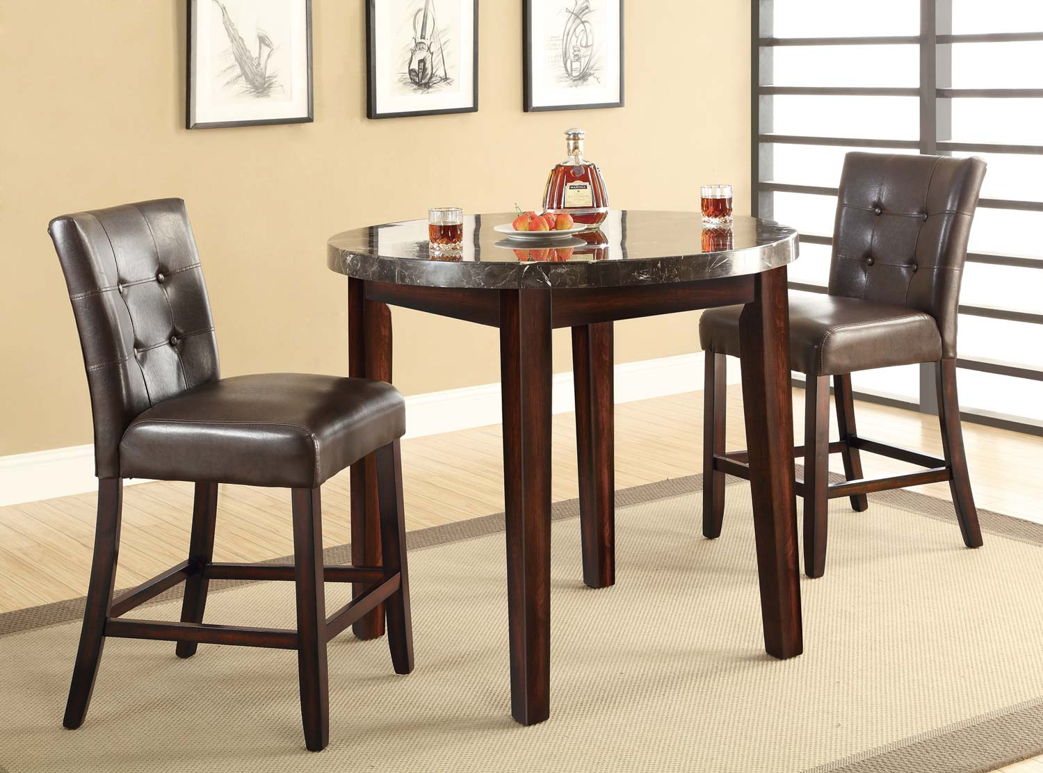 Coaster Milton Round Counter Height Dining Set - Dark Top - Rich Cherry