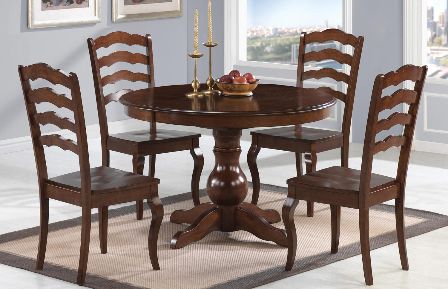 Coaster Davis Round Dining Set - Warm Oak
