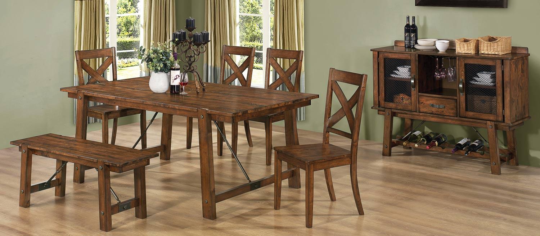 Coaster Lawson Dining Set - Rustic Oak