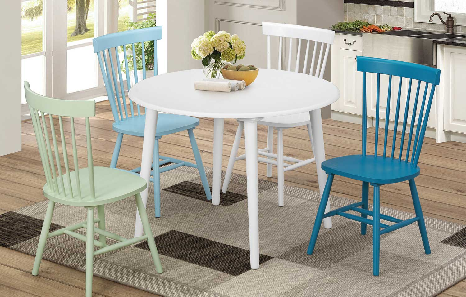 Coaster Emmett Dining Set with Round Table - White