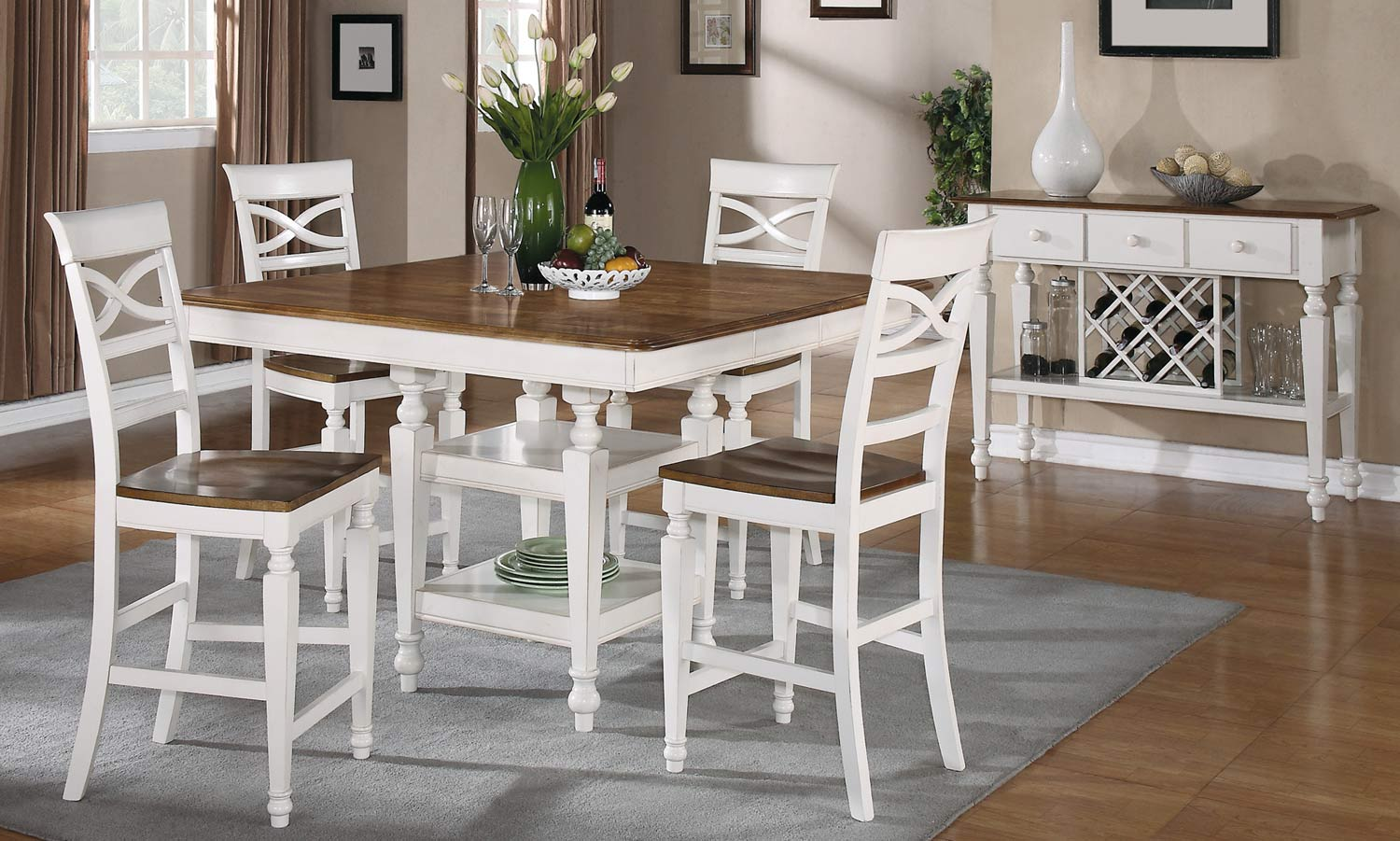 Coaster Ashley Counter Height Dining Set - Oak - Antique White