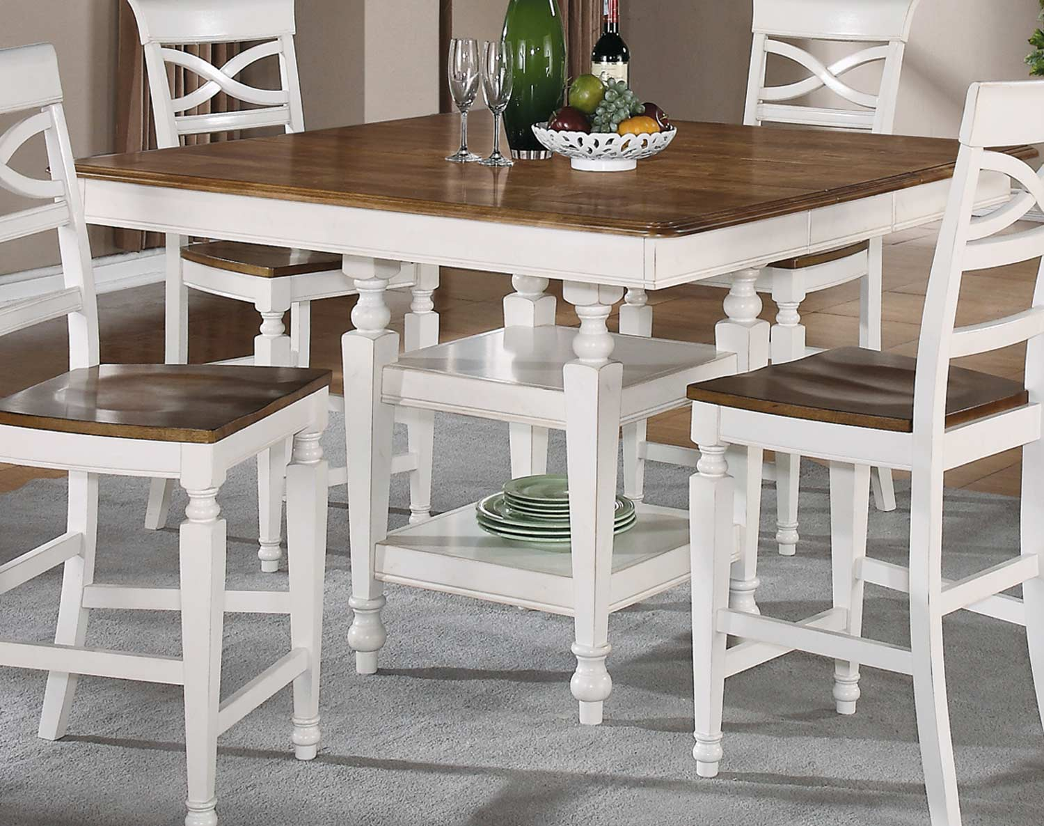 CO-104008 Ashley Counter Height Table - Oak - Antique White 54L x 54W ...