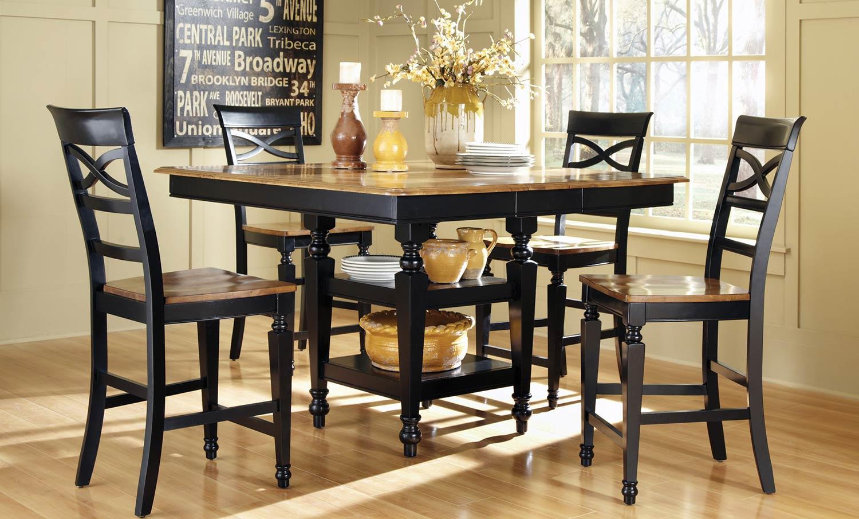 Coaster Ashley Counter Height Dining Set - Black/Oak