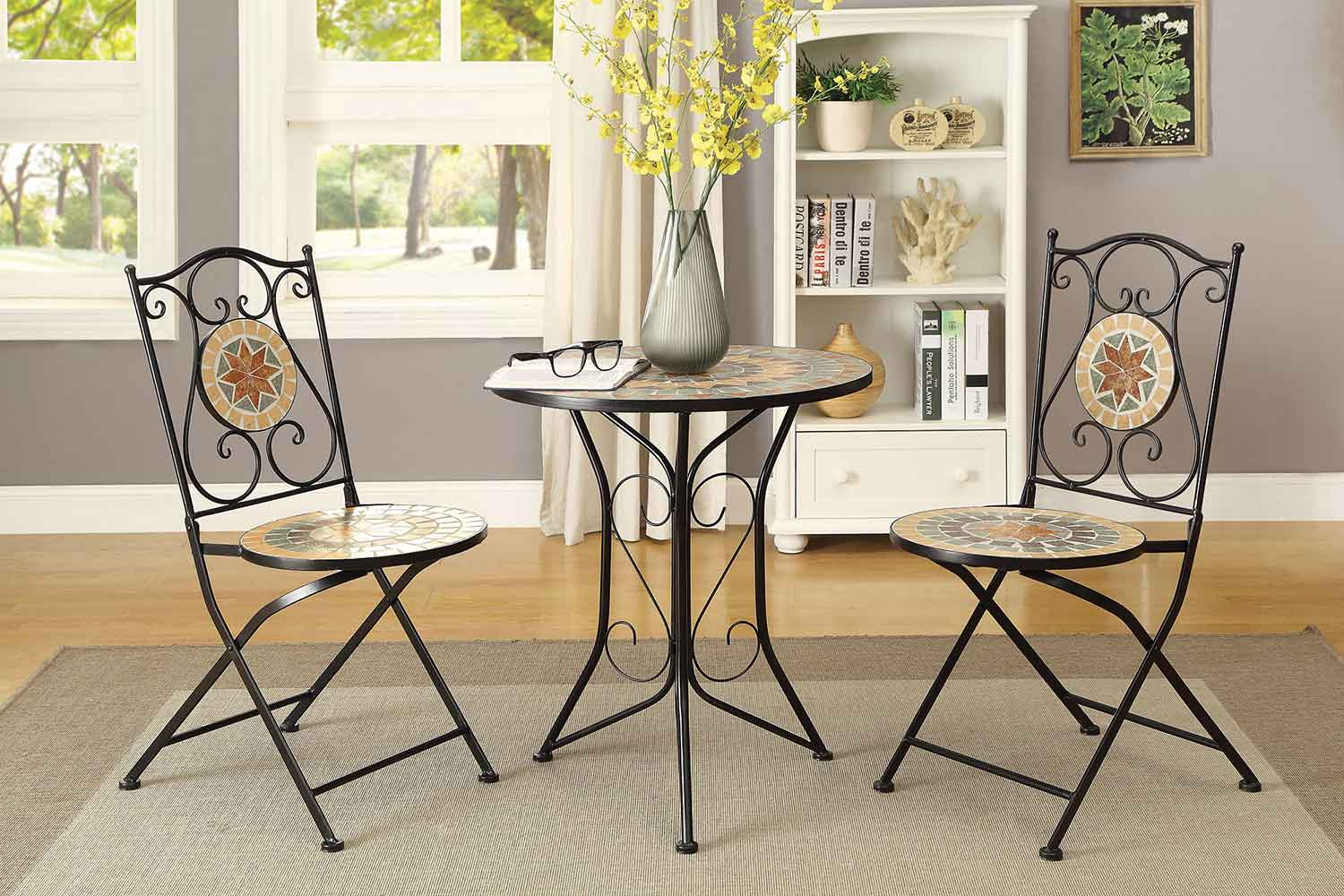 Coaster 104165 3 PC Dining Set with Mosaic Tiles - Multi-Bright