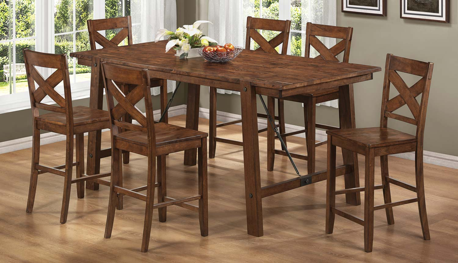 Coaster Lawson Counter Height Dining Set - Rustic Oak