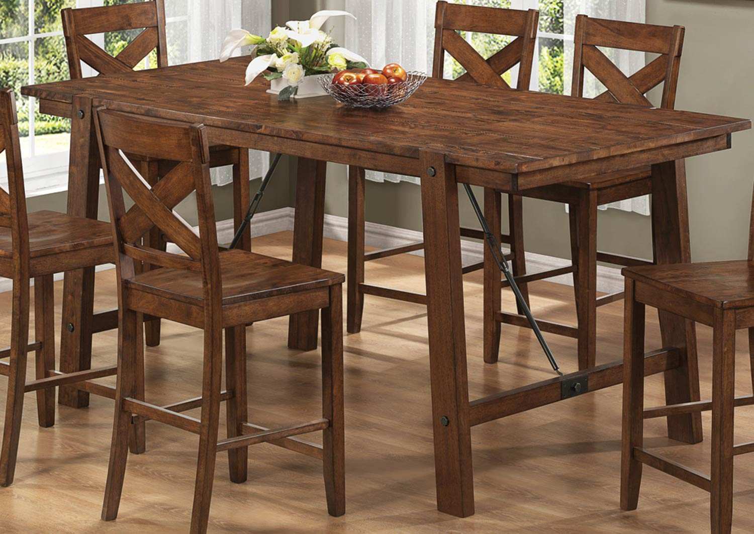 Coaster Lawson Counter Height Dining Set Rustic Oak