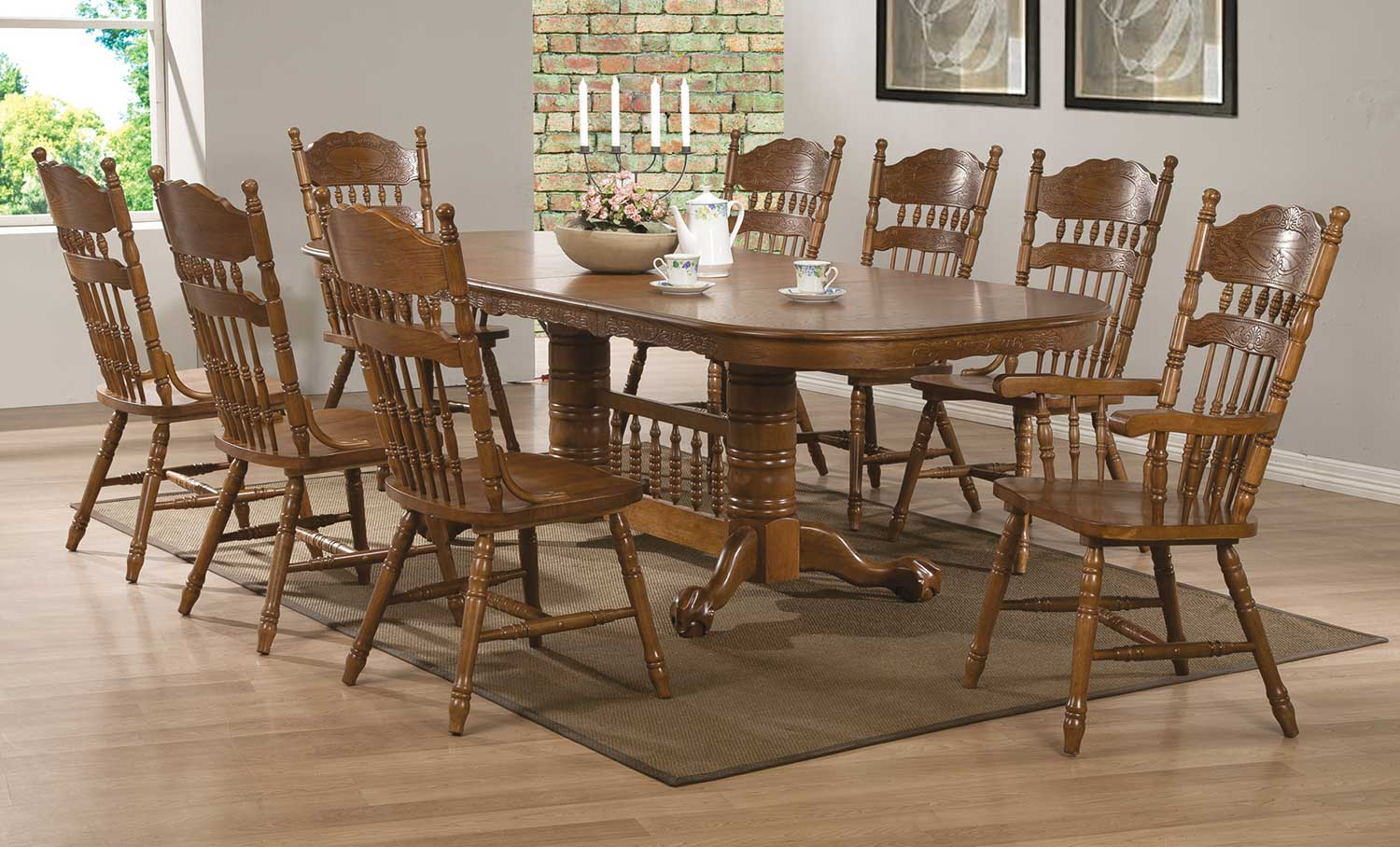 Coaster Brooks Dining Set - Oak