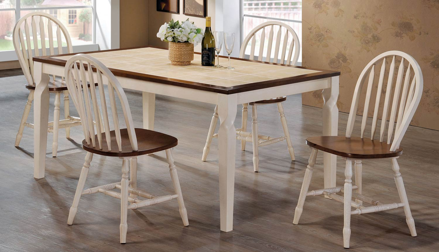 Coaster Bradley Dining Set - Warm Brown/Antique Beige