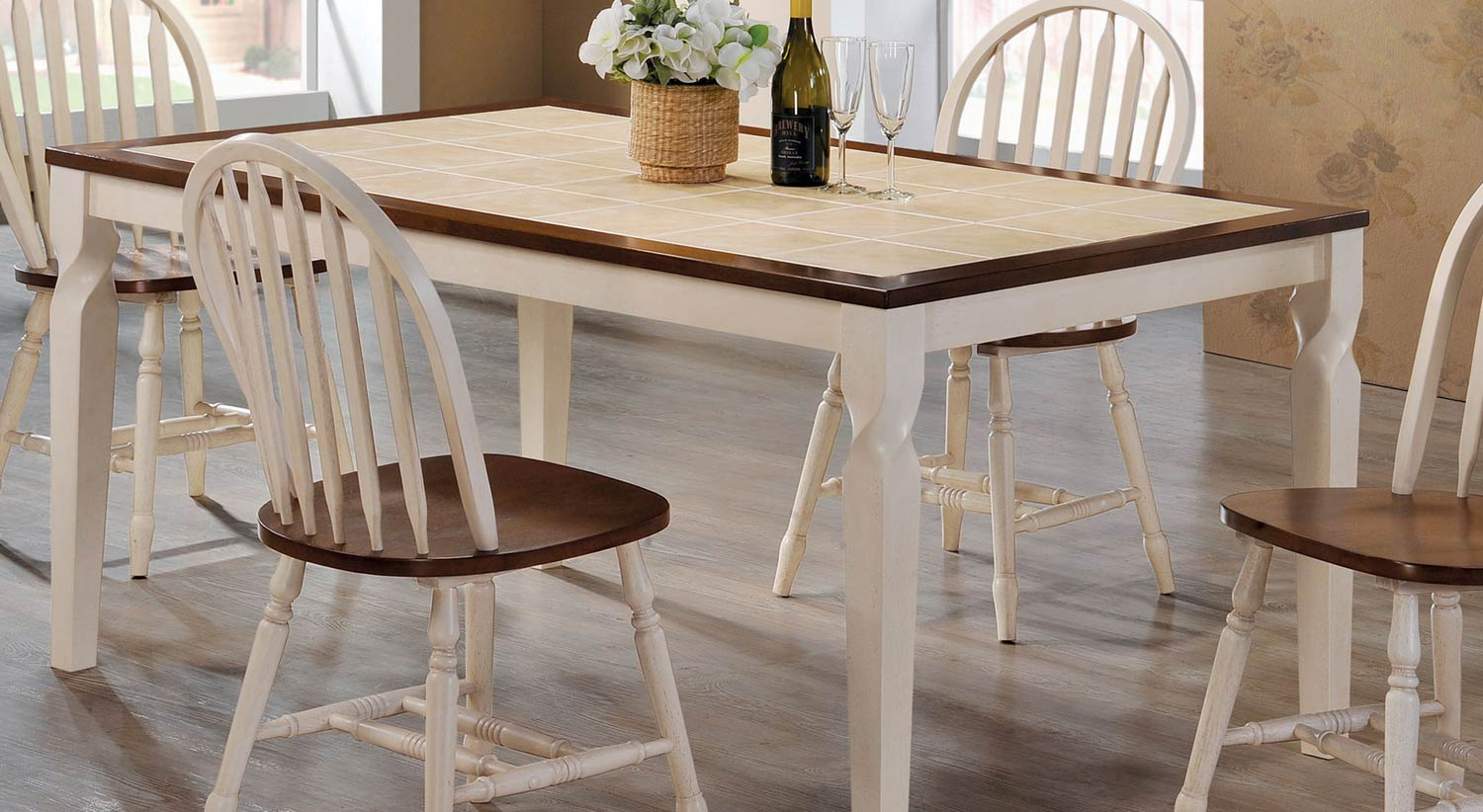 Coaster Bradley Dining Table - Warm Brown/Antique Beige