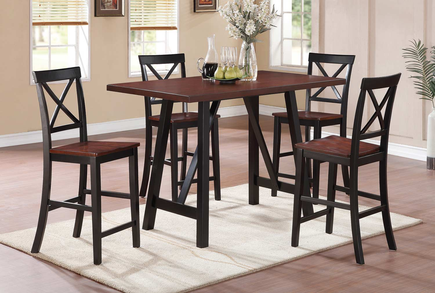 Coaster Makelim Counter Height Dining Set - Black/Walnut