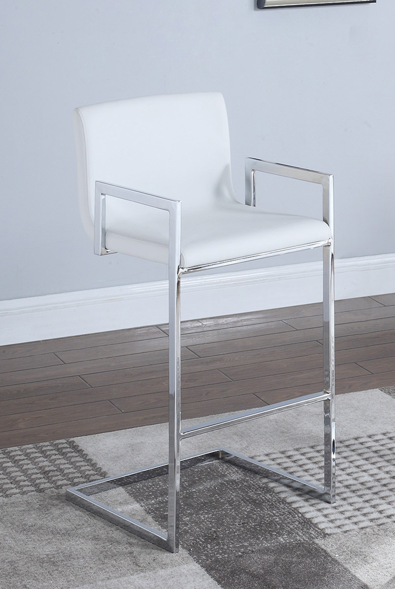 Coaster 104875 Bar Stool - White/Chrome