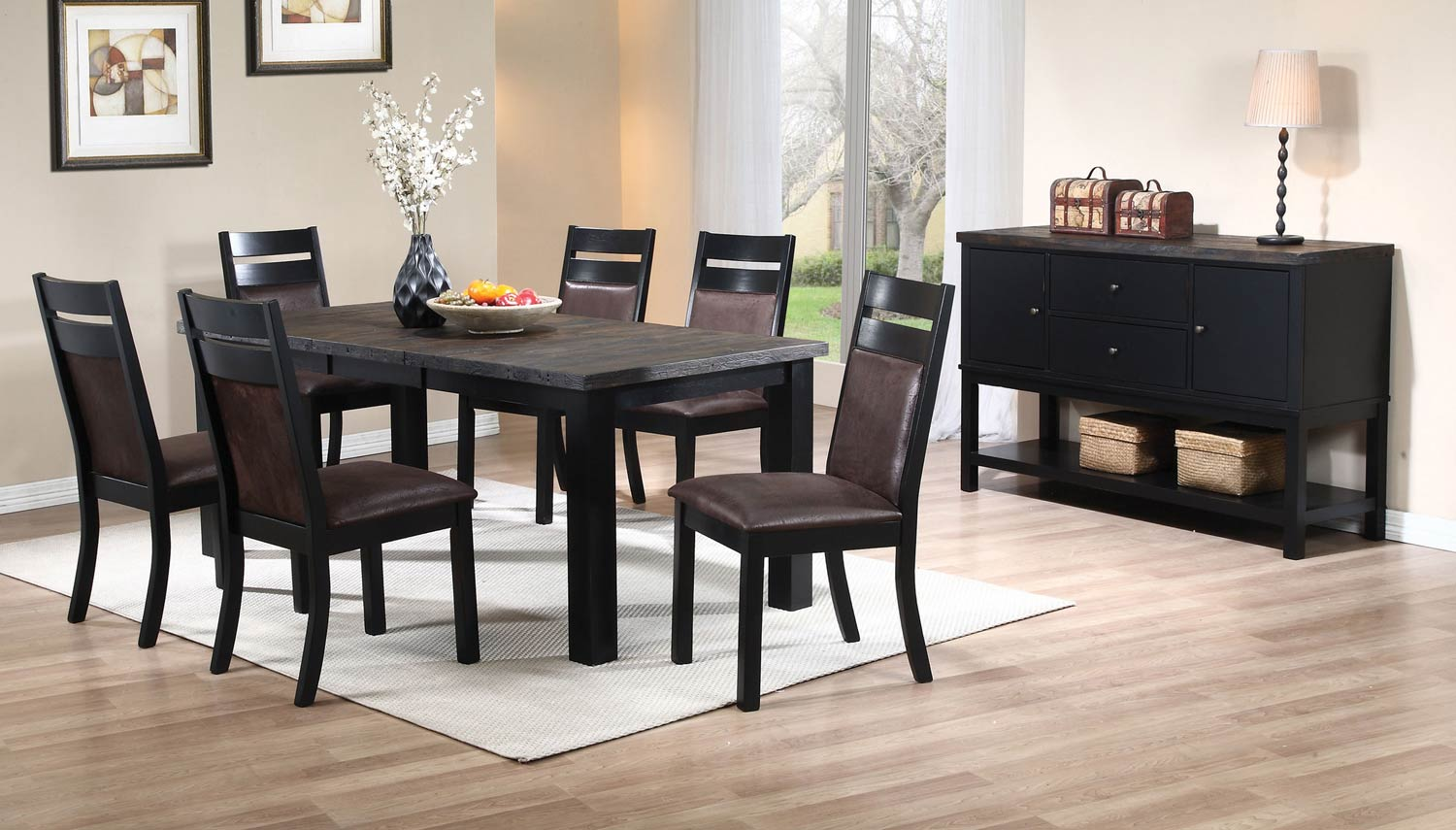 Coaster Arlington Dining Set - Wire Brushed Oak/Antique Black
