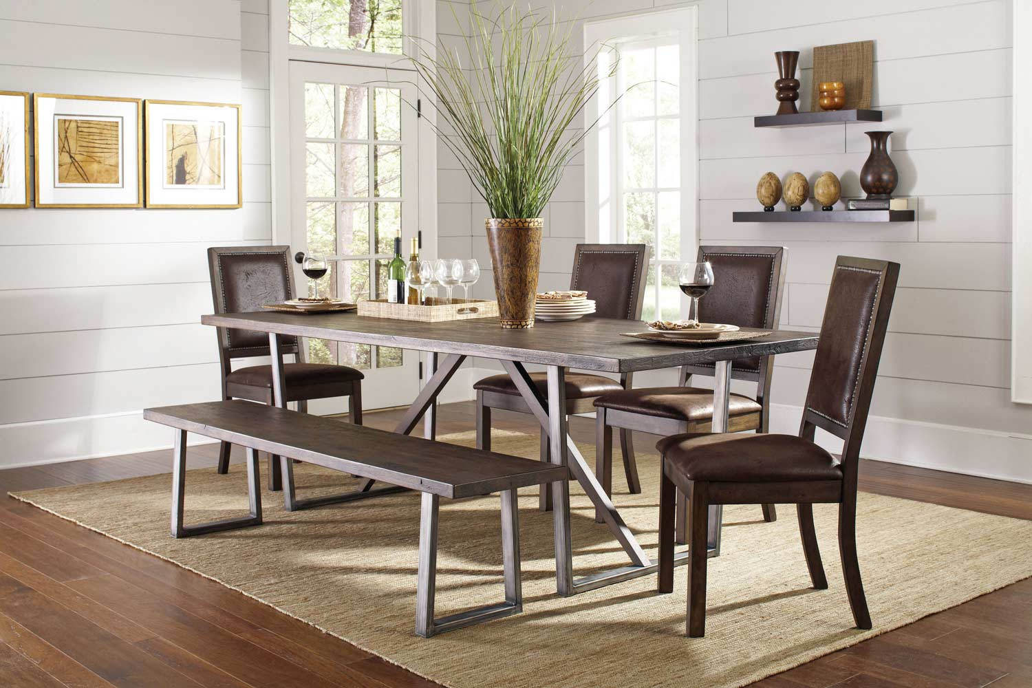 Coaster Genoa Dining Set - Wire Brushed Cocoa/Metal