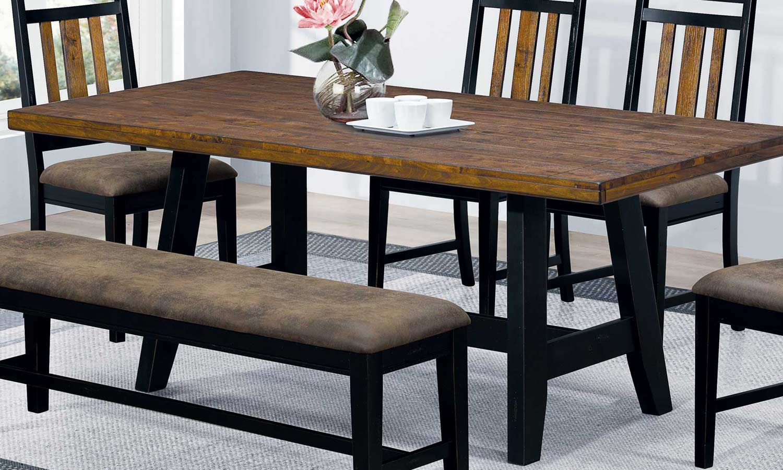 Coaster Waller Dining Table - Rustic Brown/Black