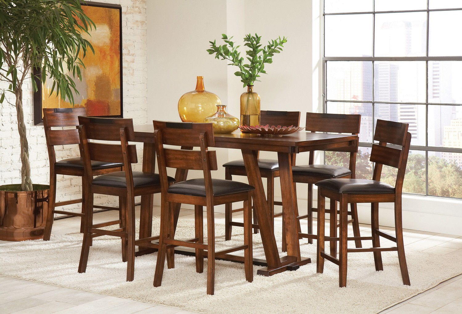 Coaster Avalon Counter Height Dining Set - Dark Amber - Coffee Bean