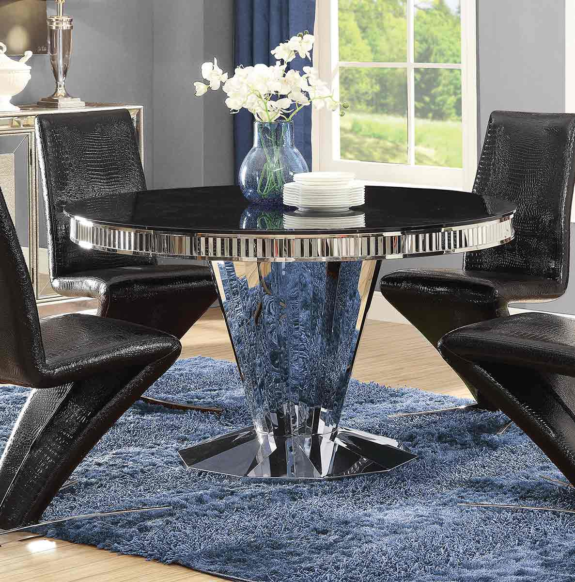 Coaster Barzini Round Dining Table - Stainless Steel