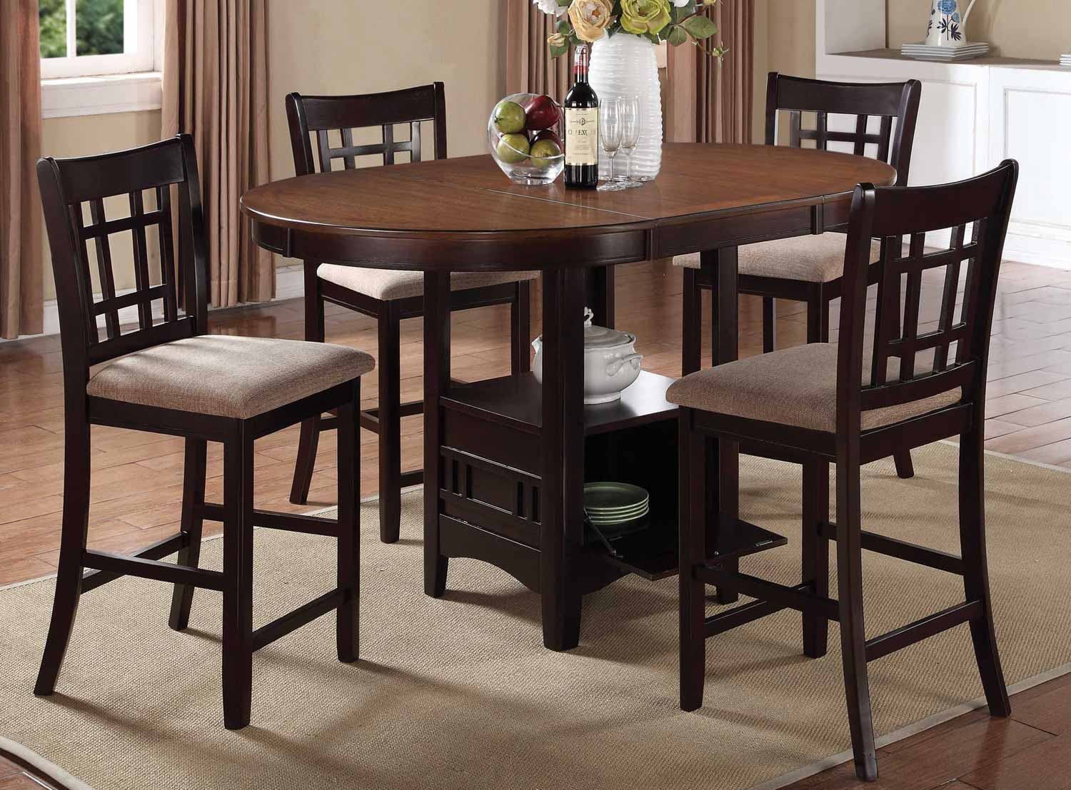 Coaster Lavon Counter Height Dining Set   Light Chestnut/Espresso