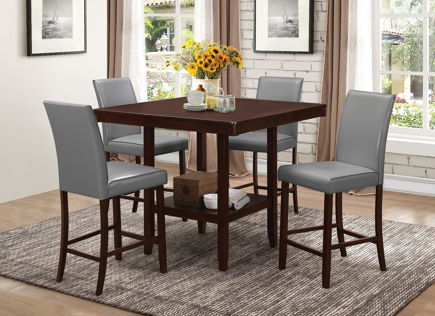 Coaster Fattori Counter Height Dining Set - Espresso/Grey Leatherette