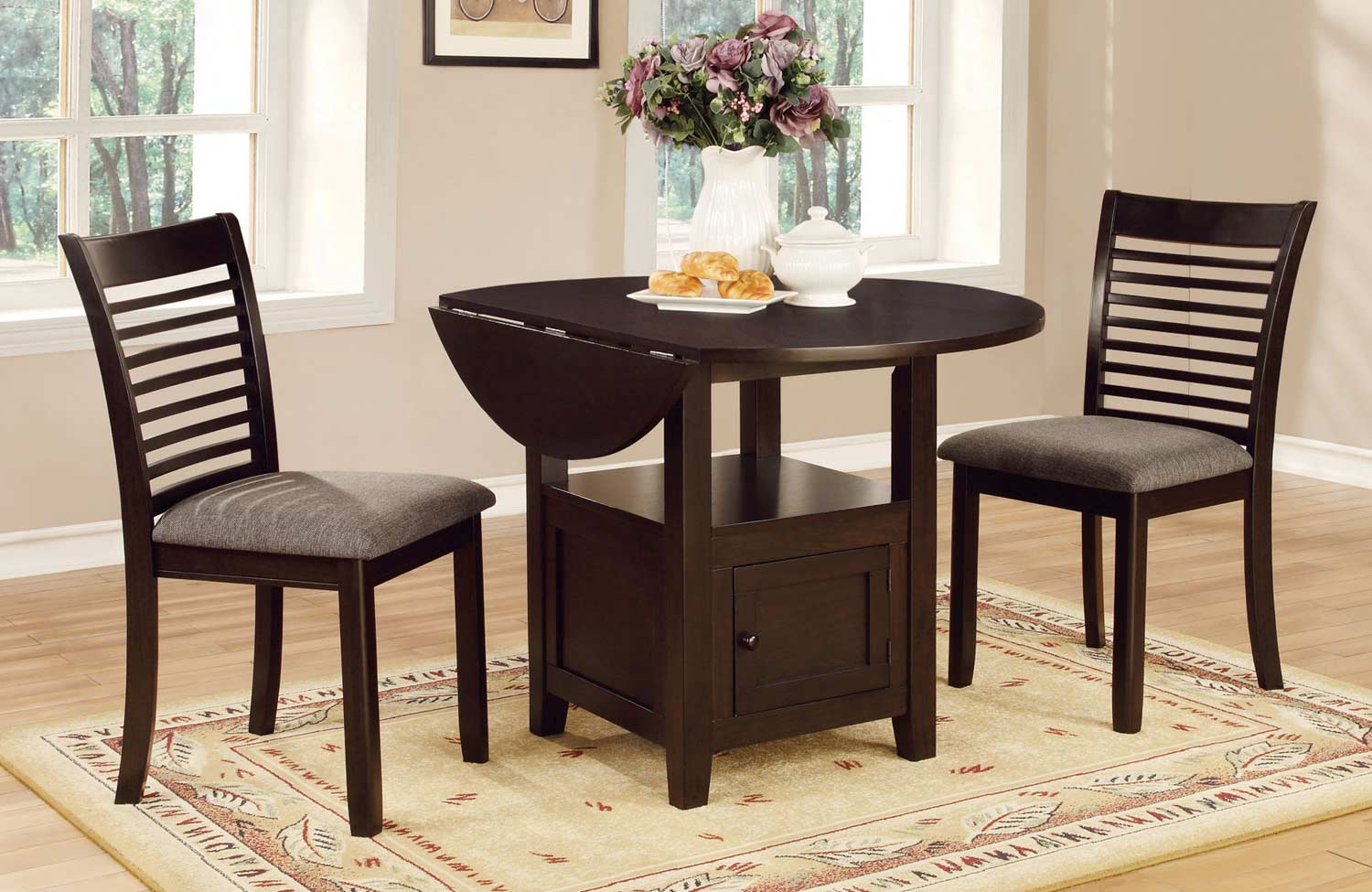 Coaster Stockton Drop Leaf Storage Dining Collection - Dark Brown