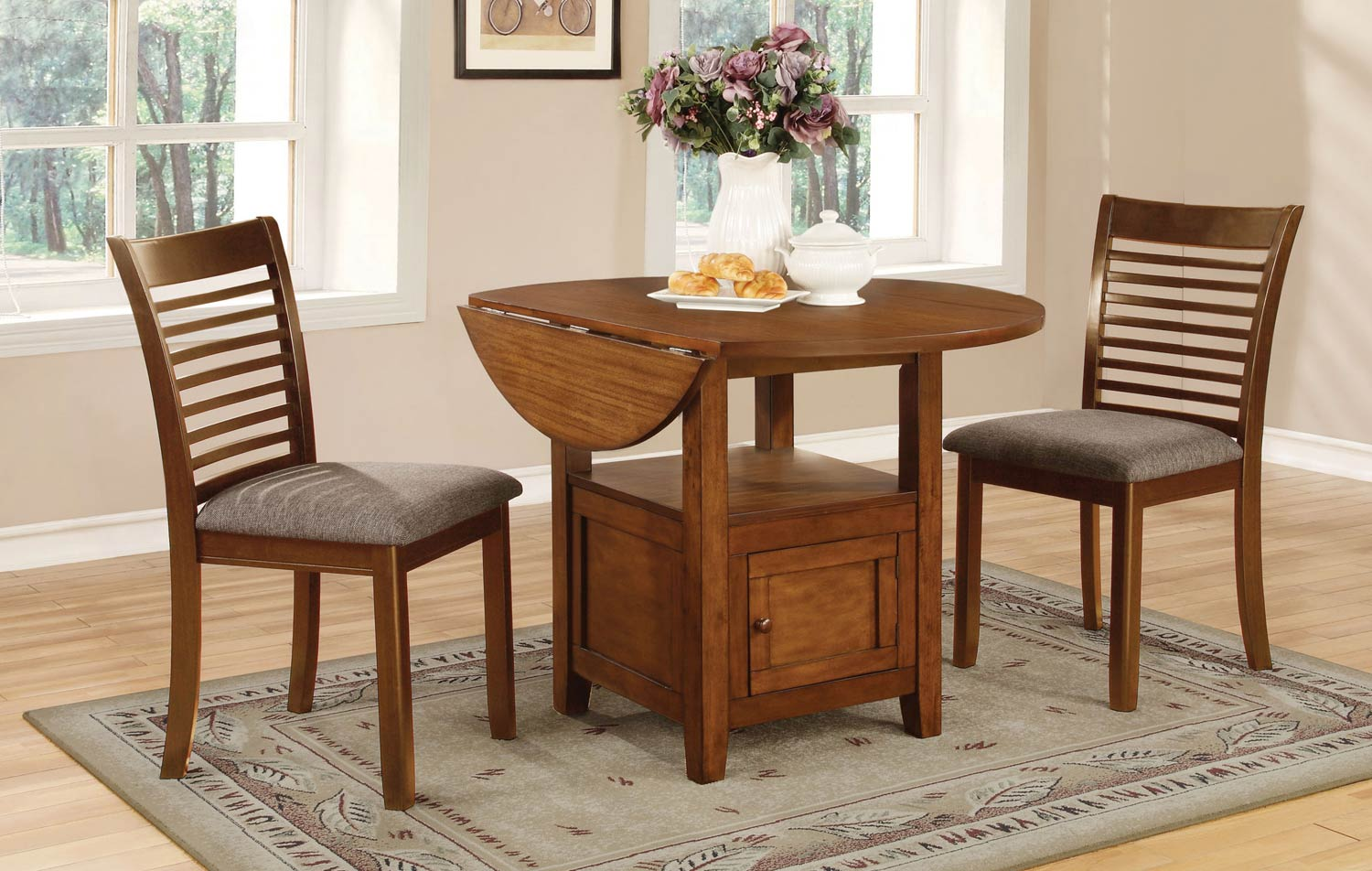 Coaster Stockton Drop Leaf Storage Dining Collection - Warm Brown
