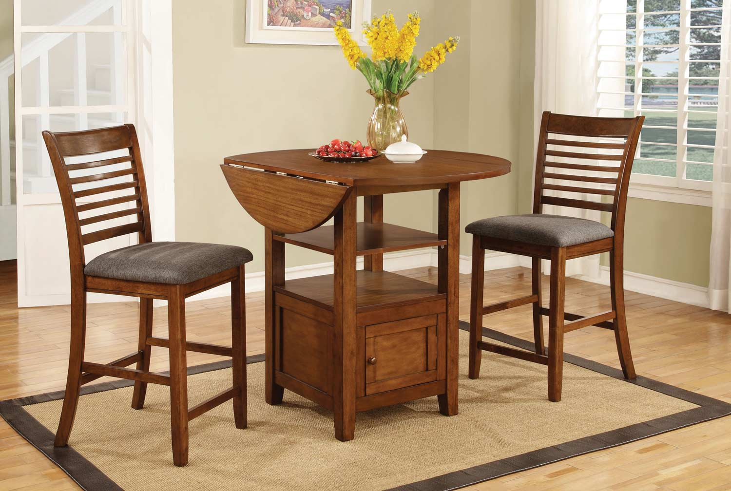 Coaster Stockton Drop Leaf Storage Counter Height Collection - Warm Brown