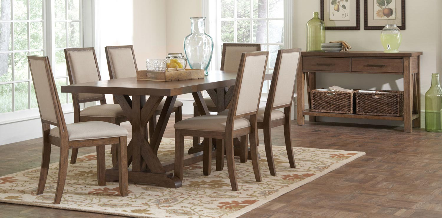 Coaster bridgeport dining set weathered acacia
