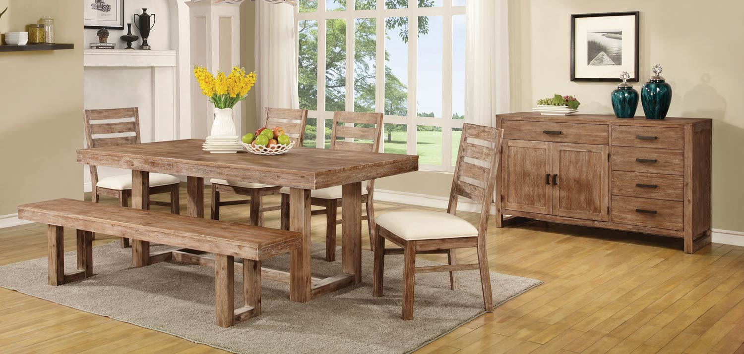 Coaster Elmwood Dining Set - Wired Brush Wheat