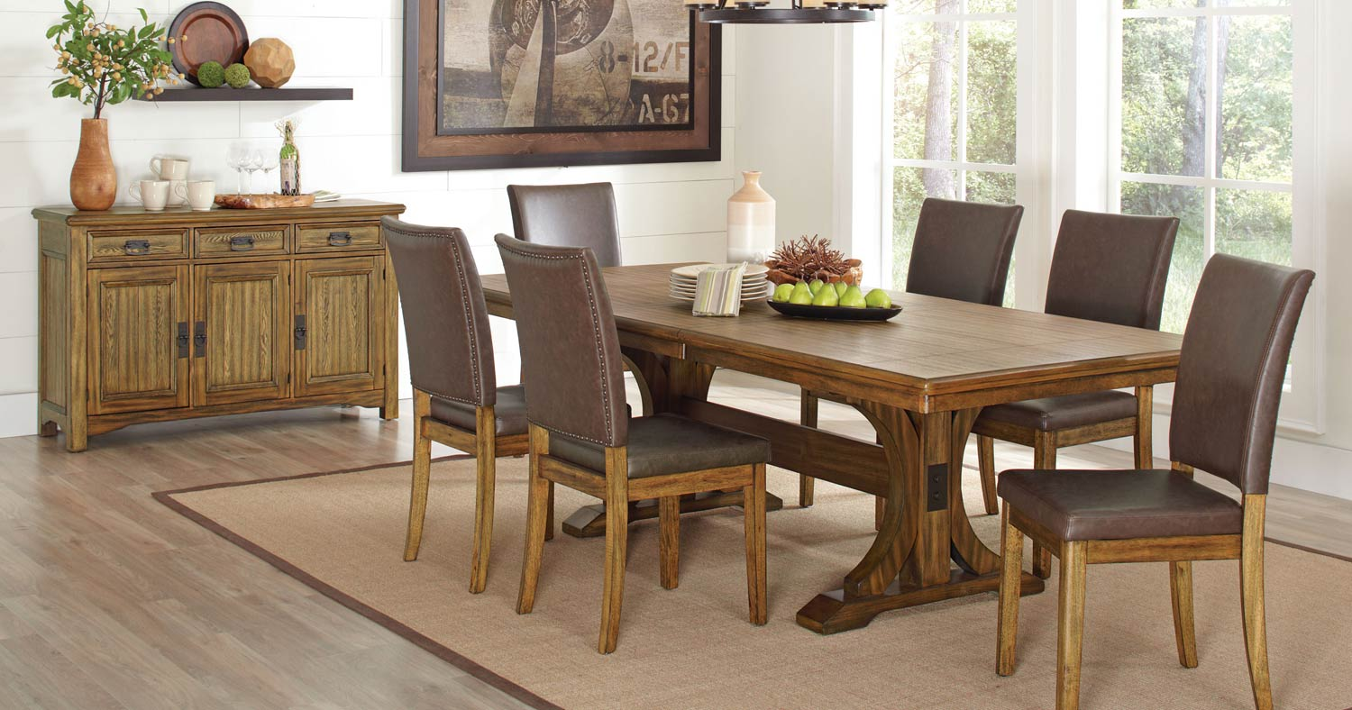 Coaster Salerno Dining Set - Wire Brushed Amber