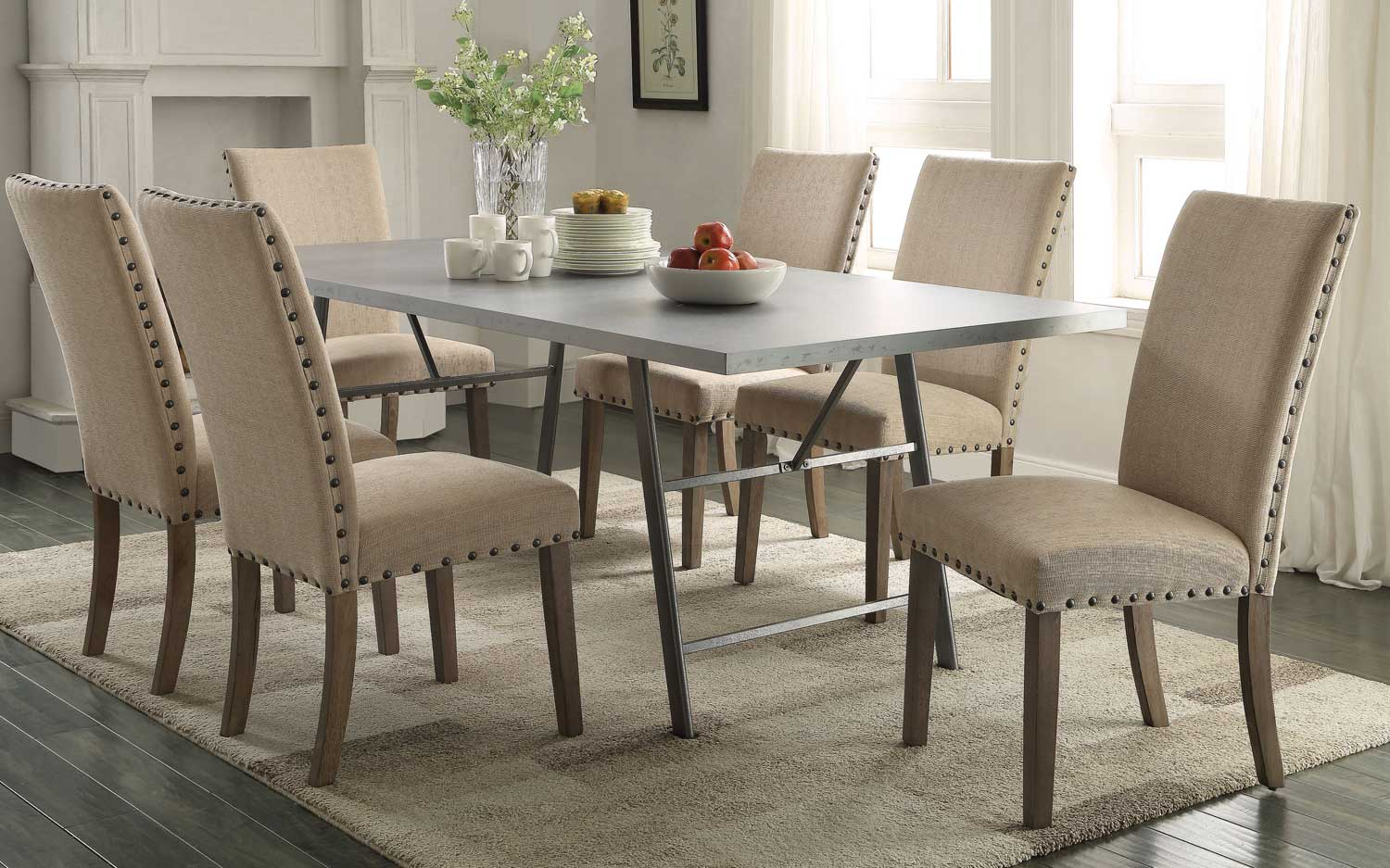Coaster Amherst Dining Set - Natural/Gunmetal