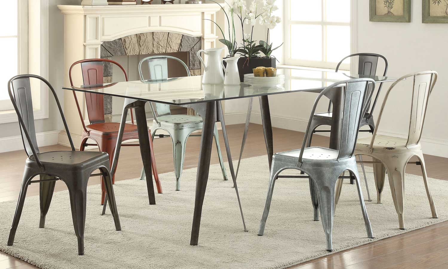 Coaster Bellevue Glass Dining Set - Antique Rustic