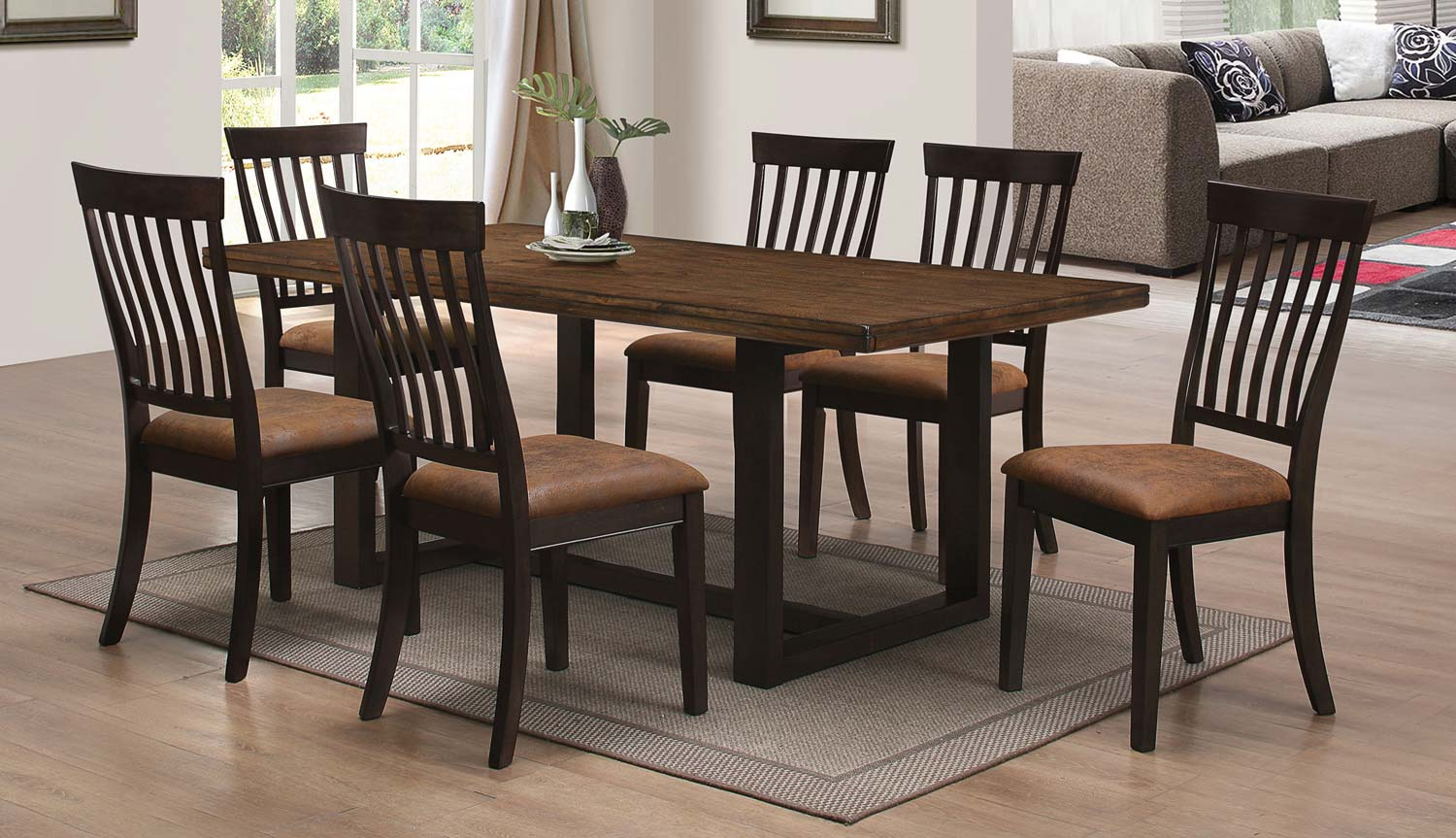 Coaster Wood River Dining set - Two tone rustic Amber & Charcoal
