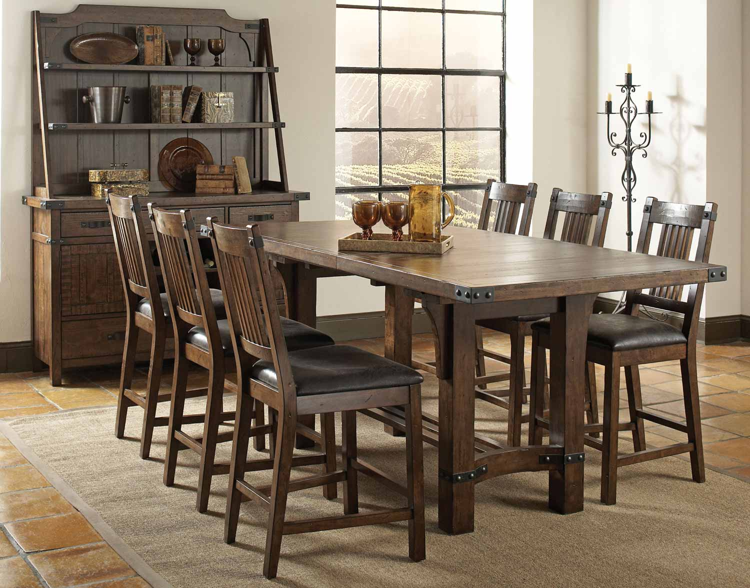 Coaster padima counter height dining set rustic cognac for Rustic dining set