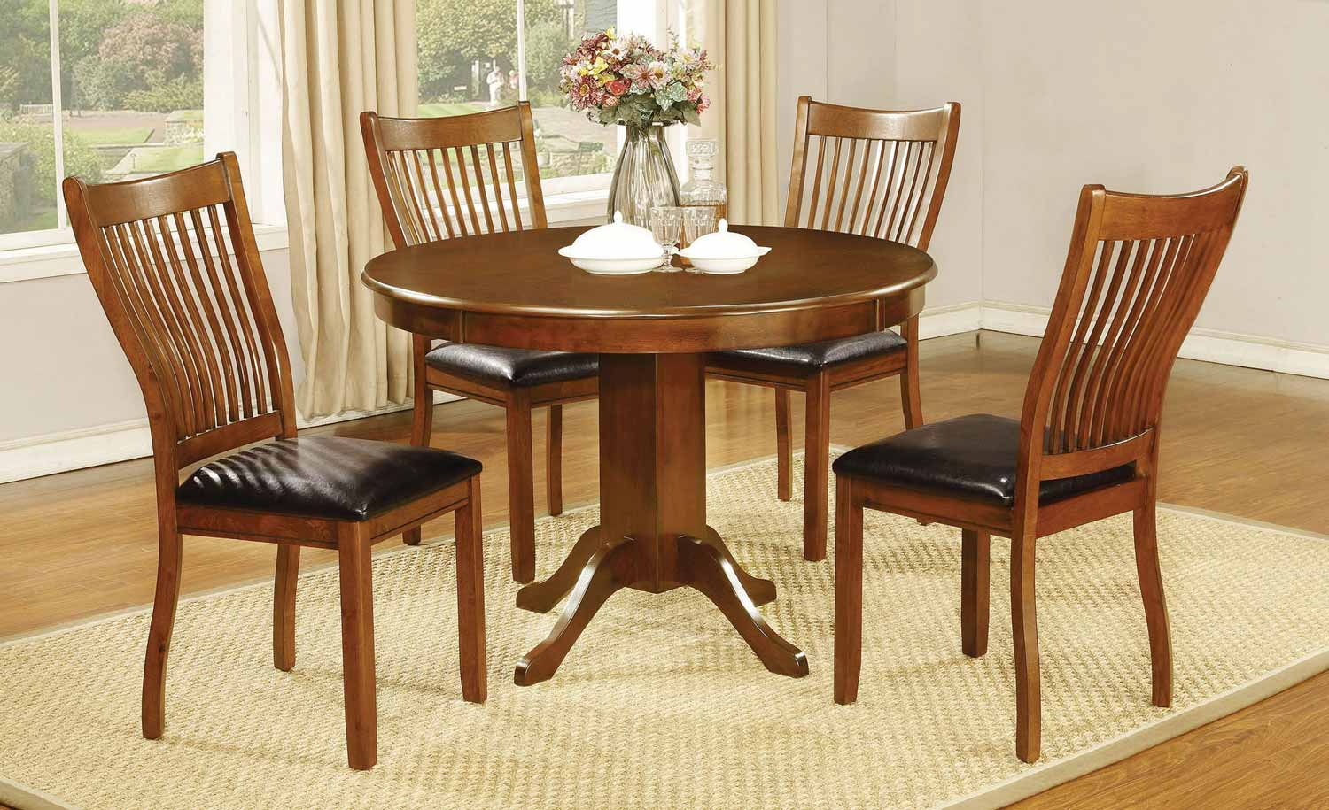 Coaster Sierra Round Dining Collection - Amber/Black Leatherette