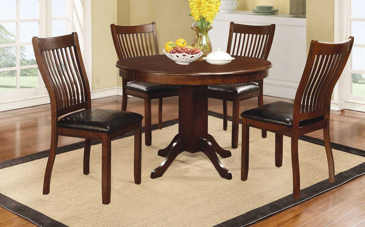 Coaster Sierra Round Dining Collection - Cherry Brown/Black Leatherette